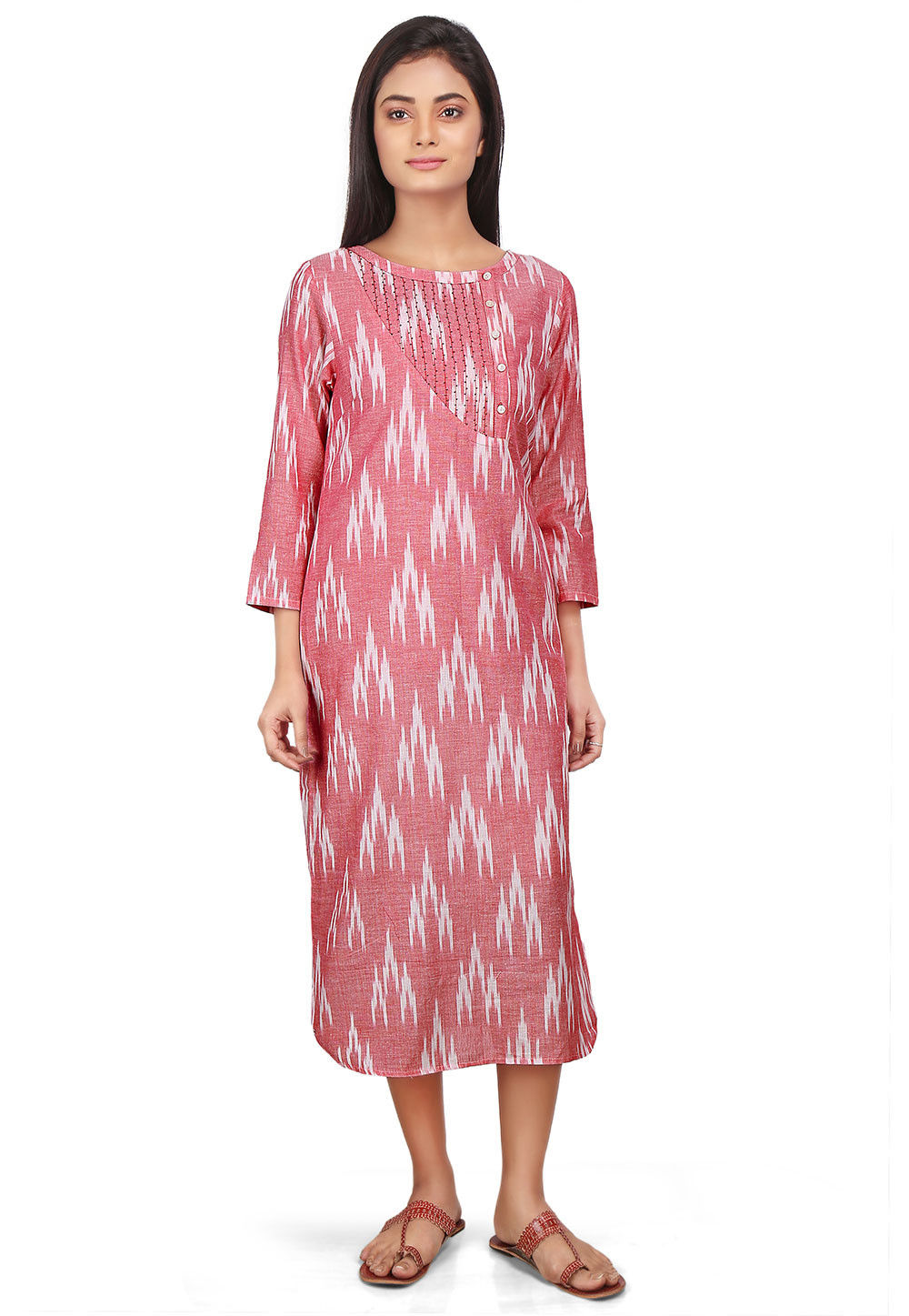 Ikat Woven Cotton Long Kurta in Old Rose