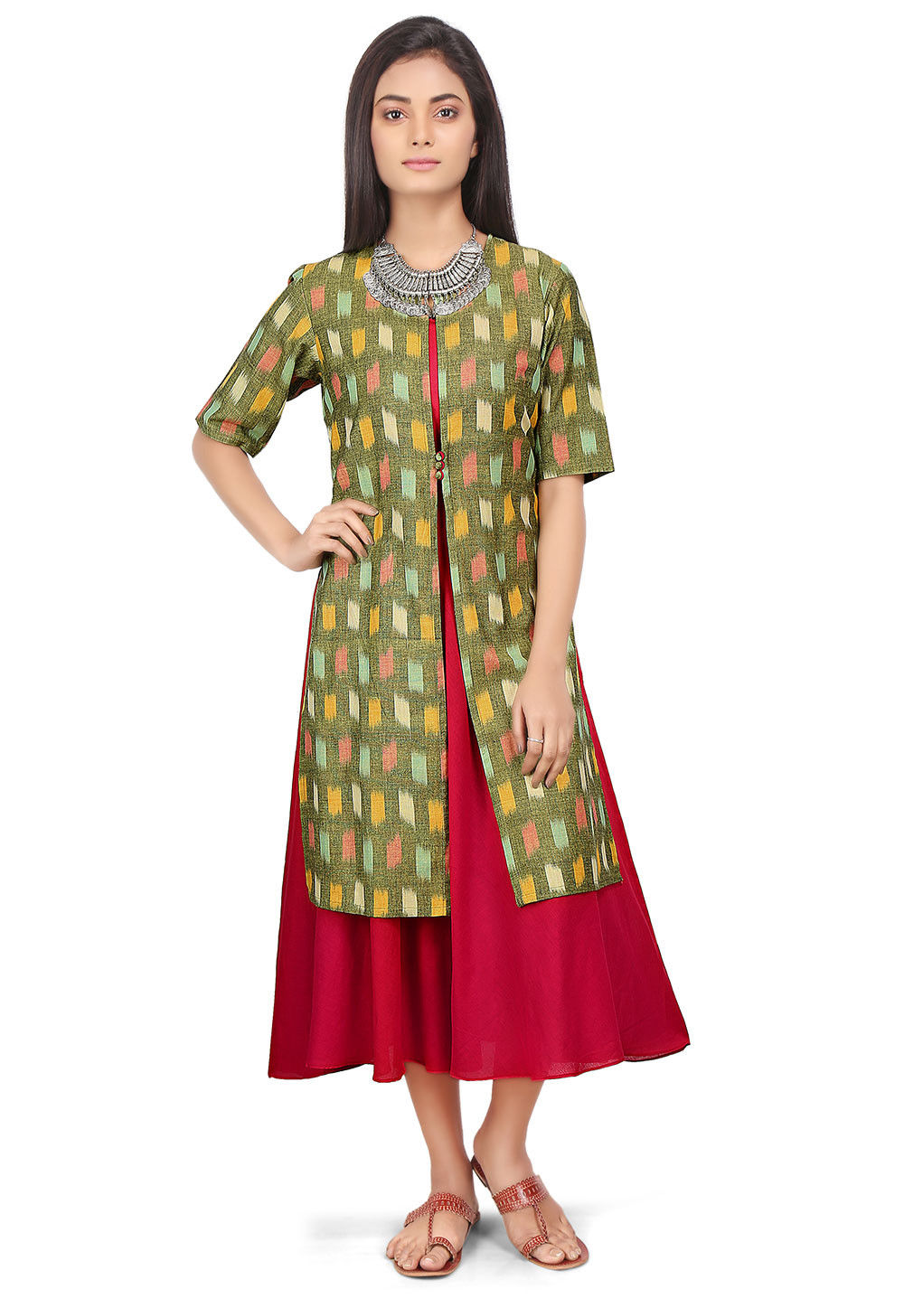 Ikat Woven Cotton Jacket Style Long Kurta in Green and Pink