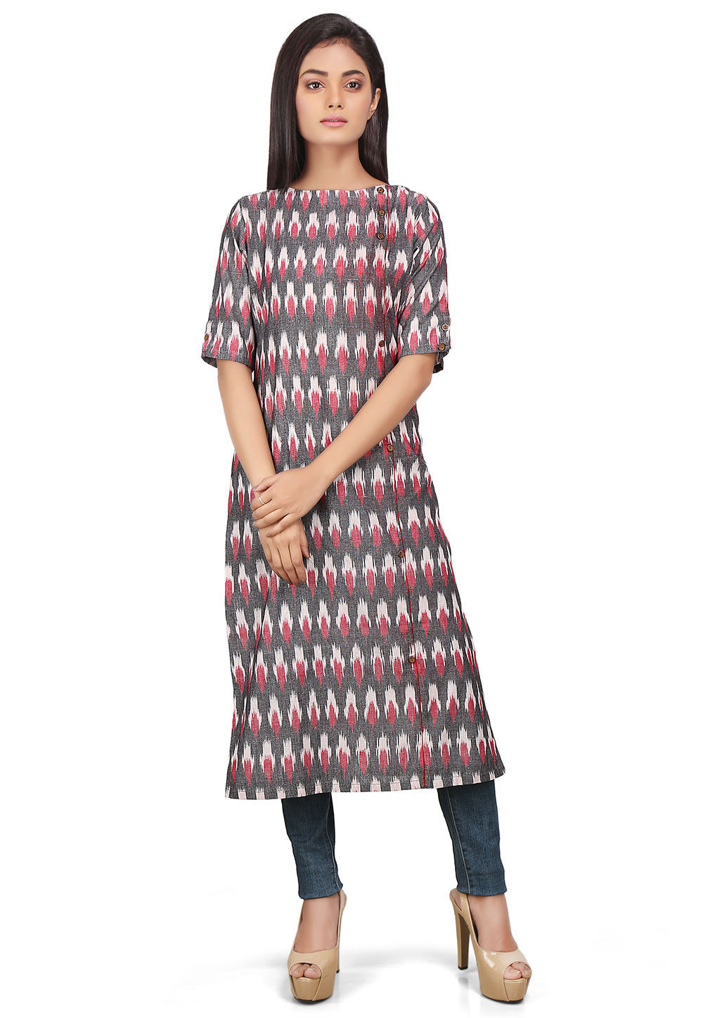 Ikat Woven Cotton Long Kurta in Multicolor