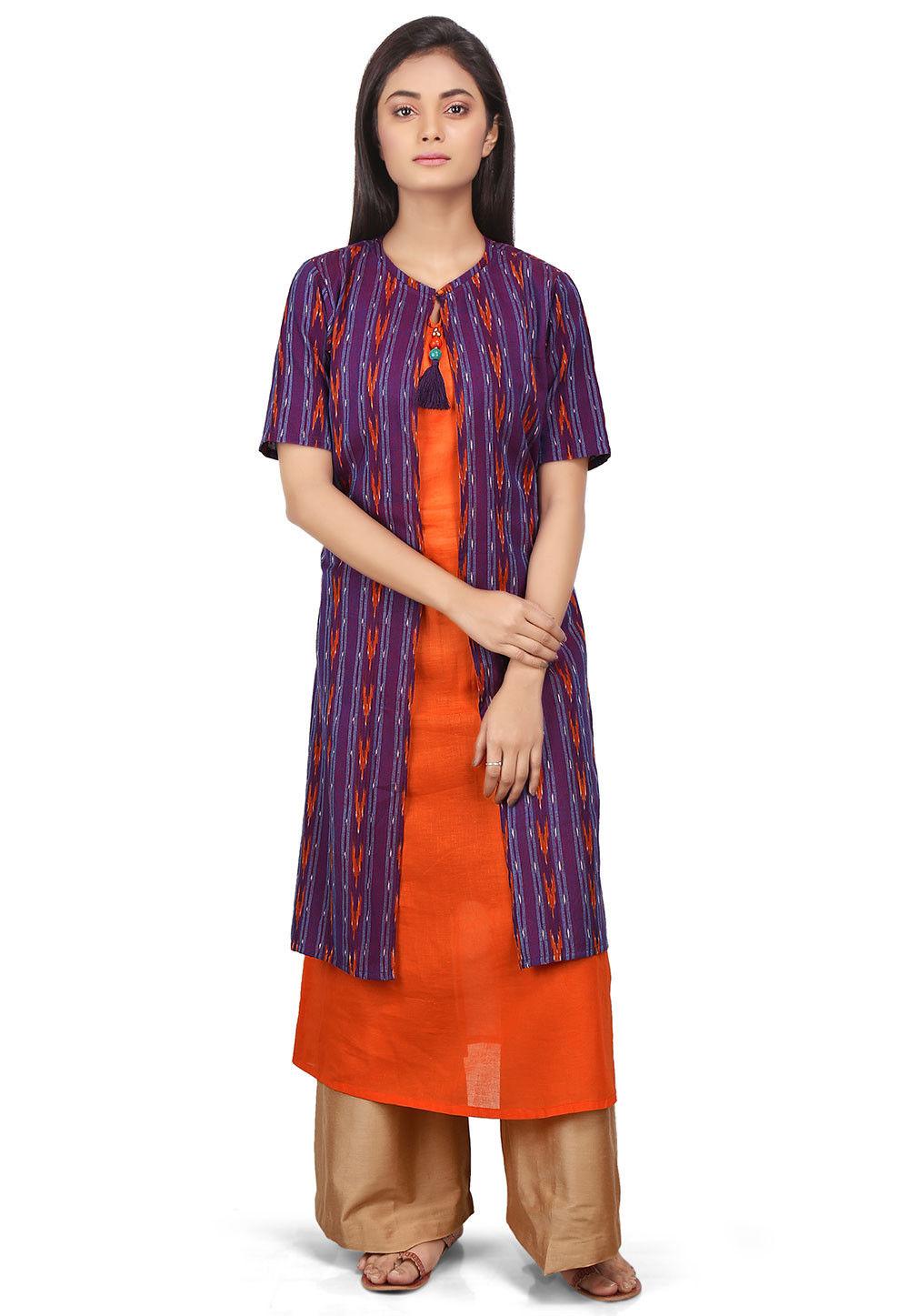 Ikat Woven Cotton Long Kurta in Purple