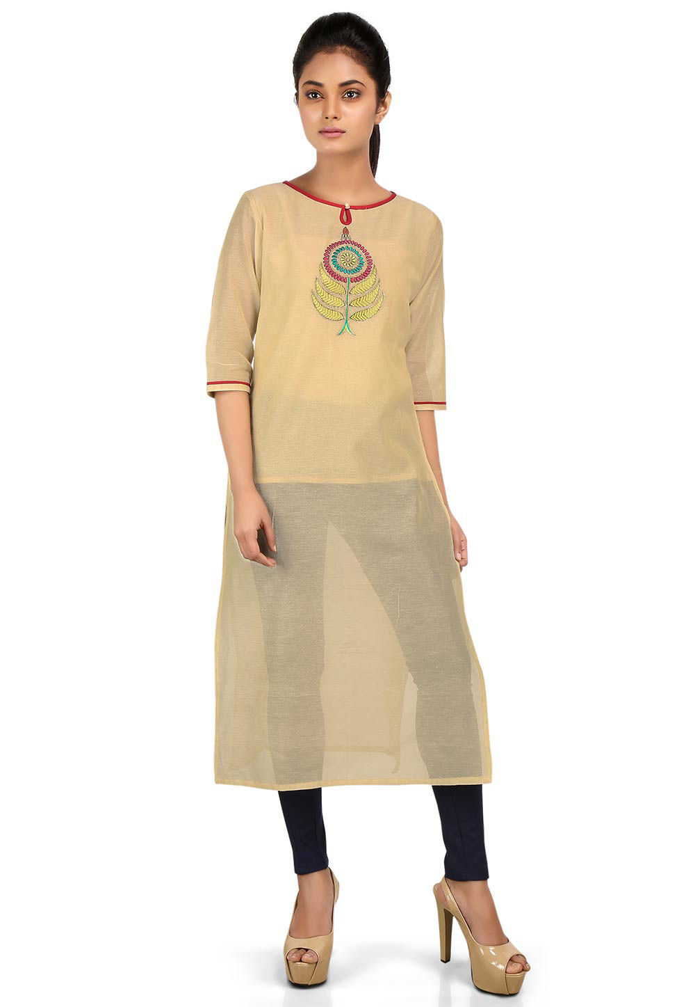 Embroidered Cotton Chanderi Kurta in Beige