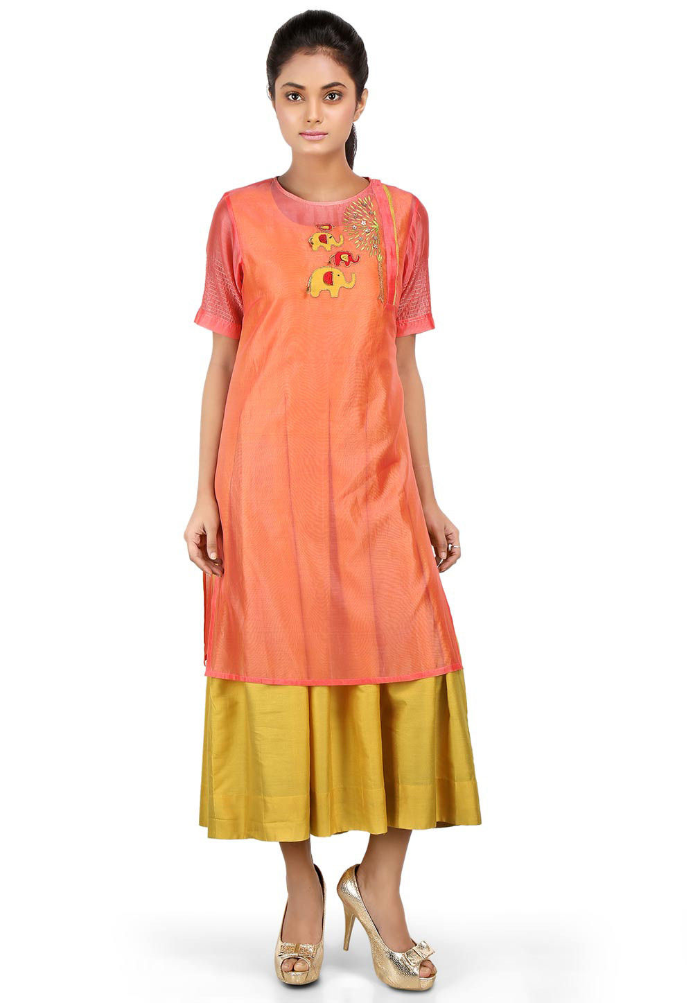 Embroidered Chanderi Layered Kurta in Peach and Yellow