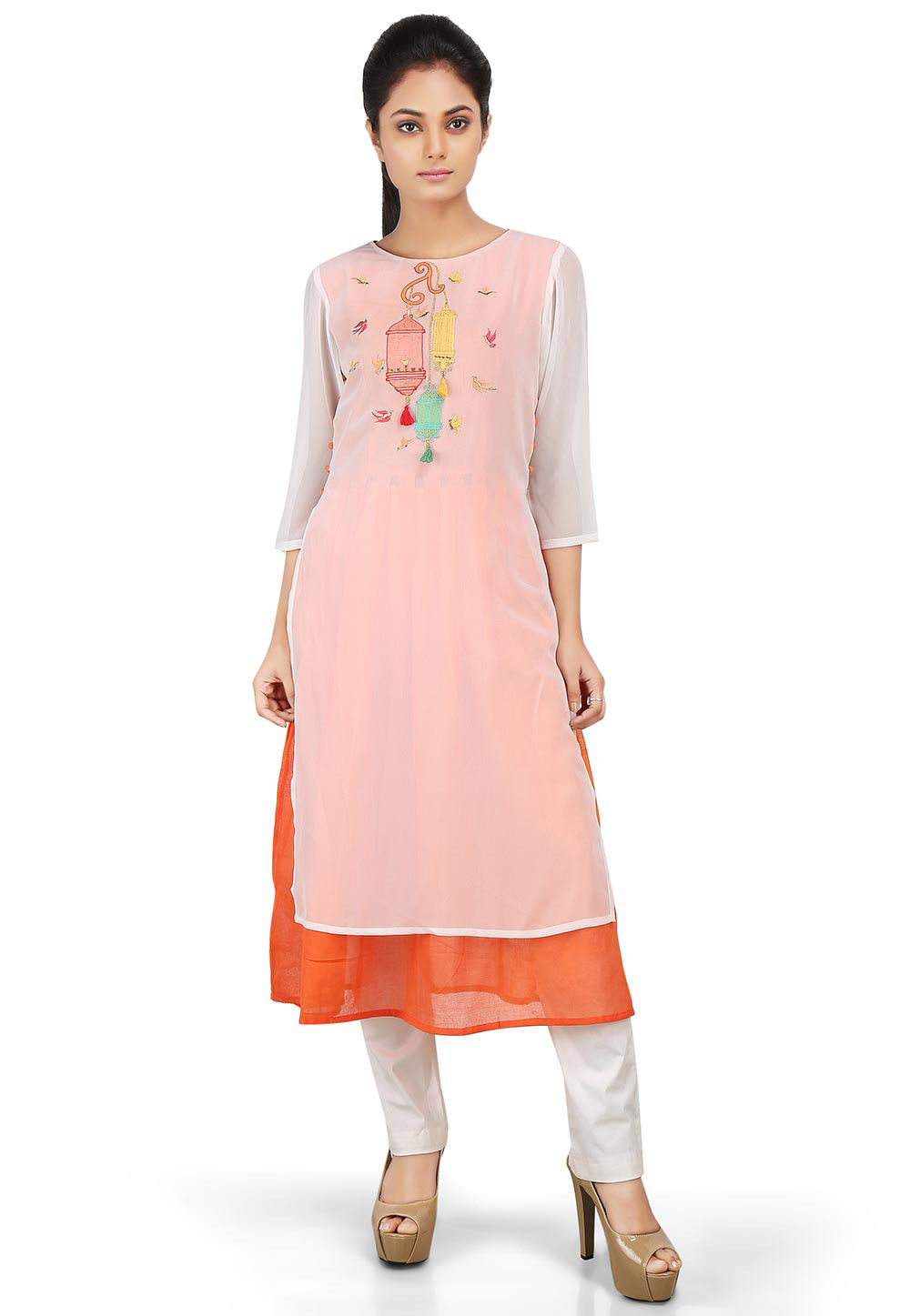 Embroidered Georgette Layered Kurta in Off White and Orange