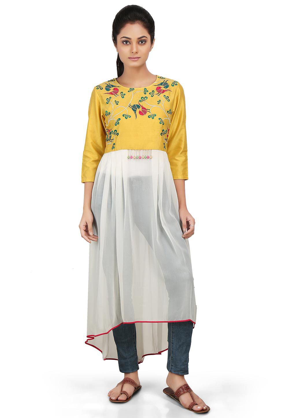 Embroidered Georgette Asymmetric Kurta in White and Yellow