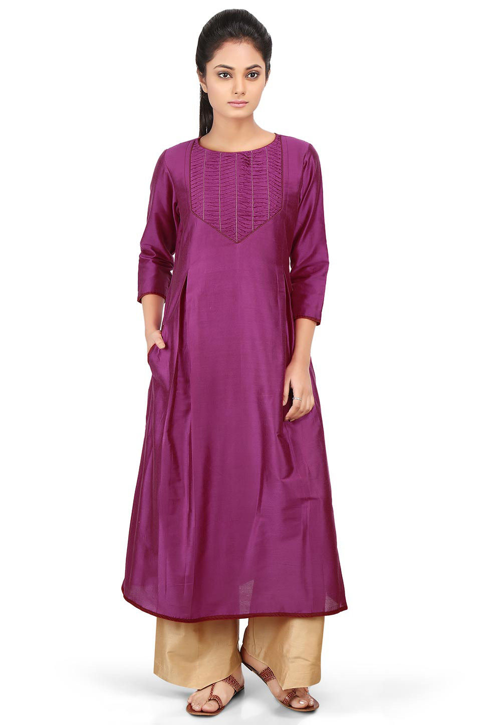 Pleated Cotton Silk Long Kurta in Magenta