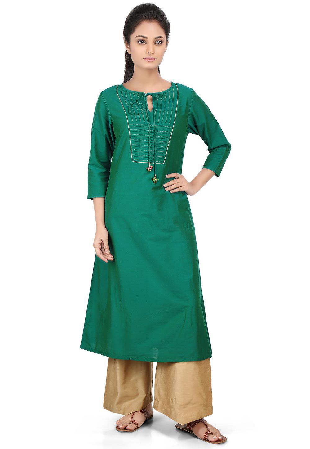 Plain Cotton Silk Long Kurta in Teal Green