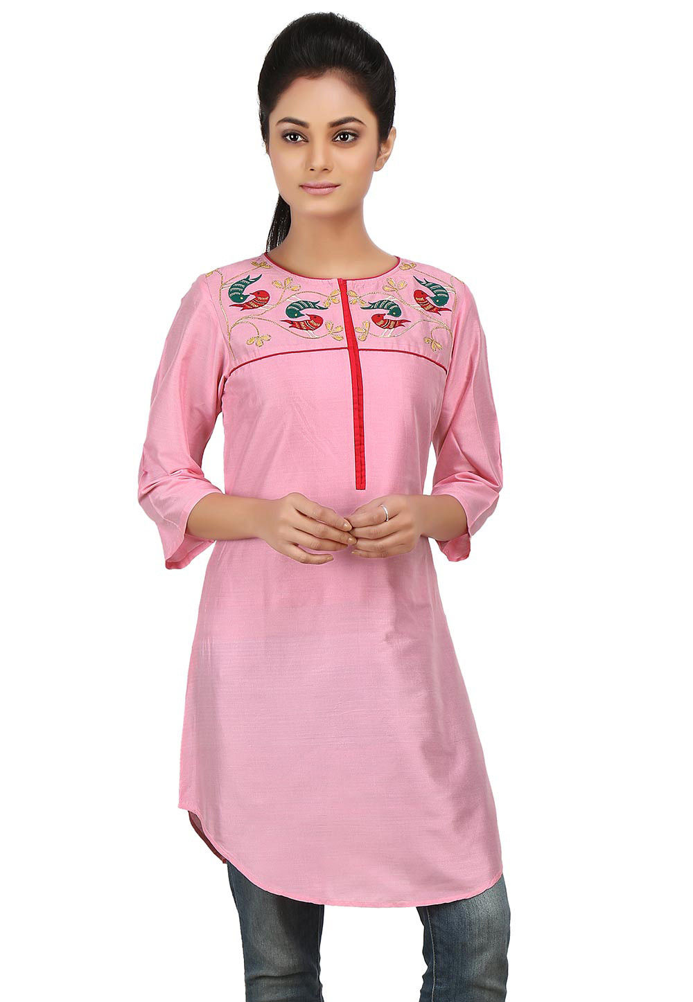 Embroidered Cotton Silk Asymmetric Tunic in Pink