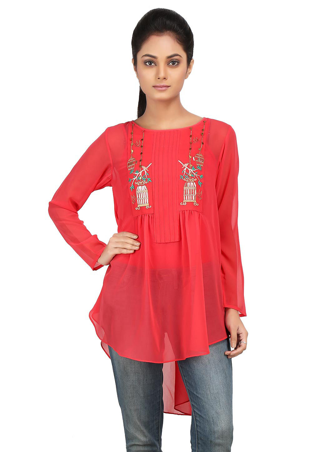 Embroidered Georgette High Low Tunic in Coral