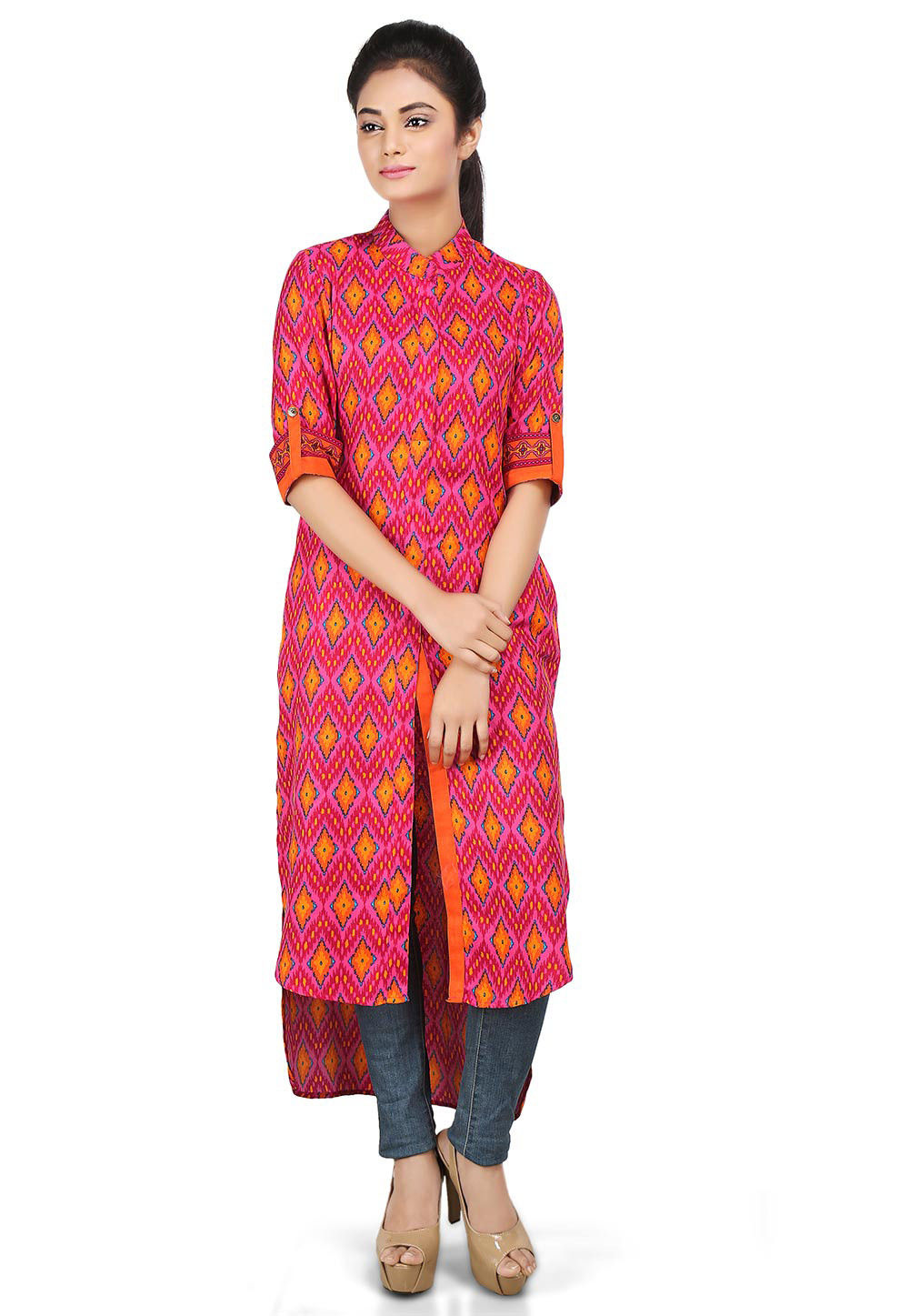 Digital Printed Viscose High Low Front Slit Kurta in Pink