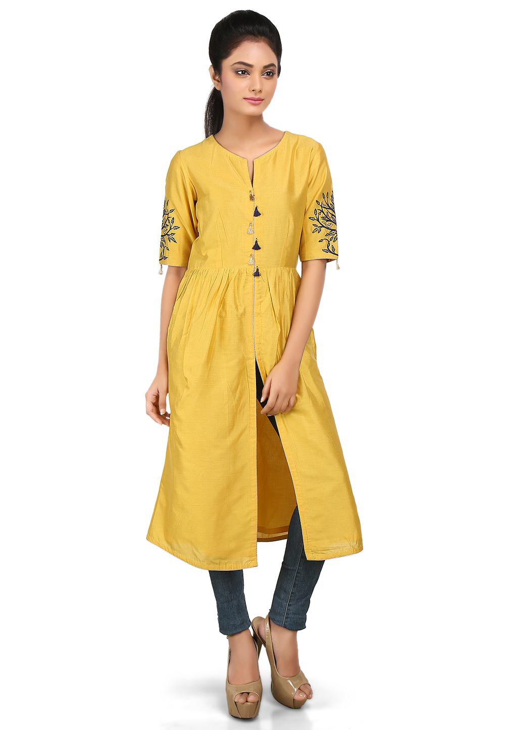 Embroidered Cotton Silk Front Slit Kurta in Yellow