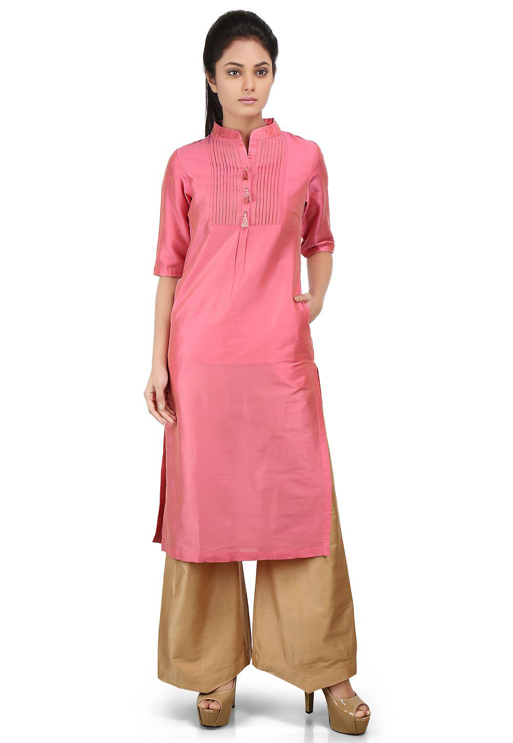 Plain Cotton Silk Kurta in Old Rose