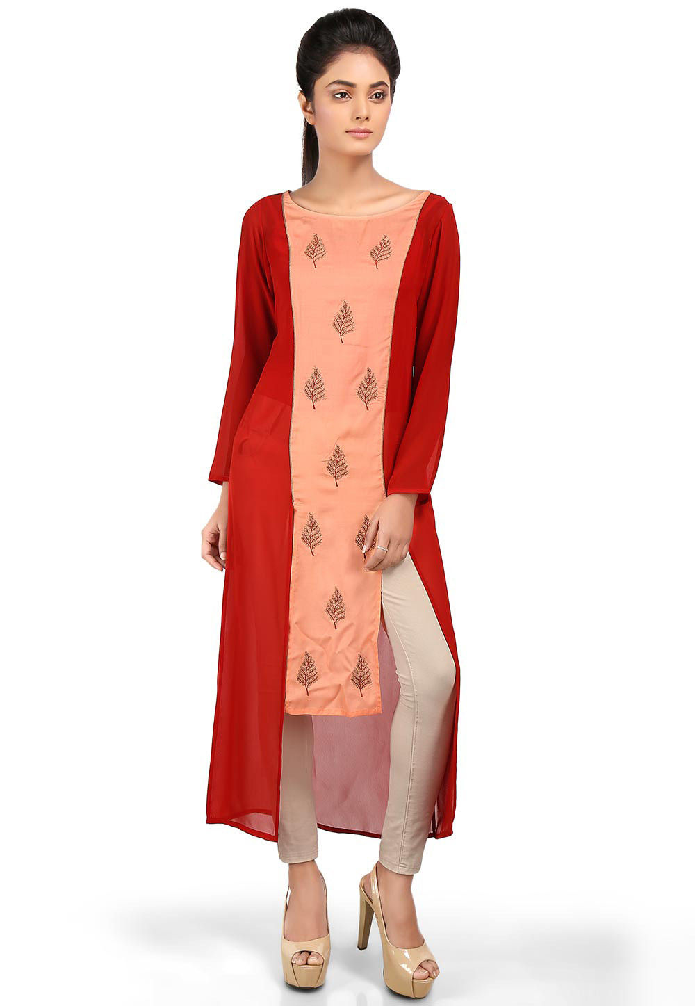 Embroidered Cotton Silk High Low Kurta in Peach and Rust
