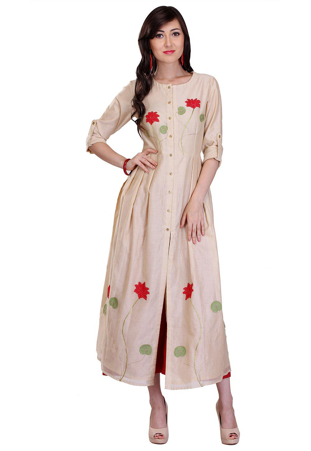 Embroidered Chanderi Silk Kurta in Beige