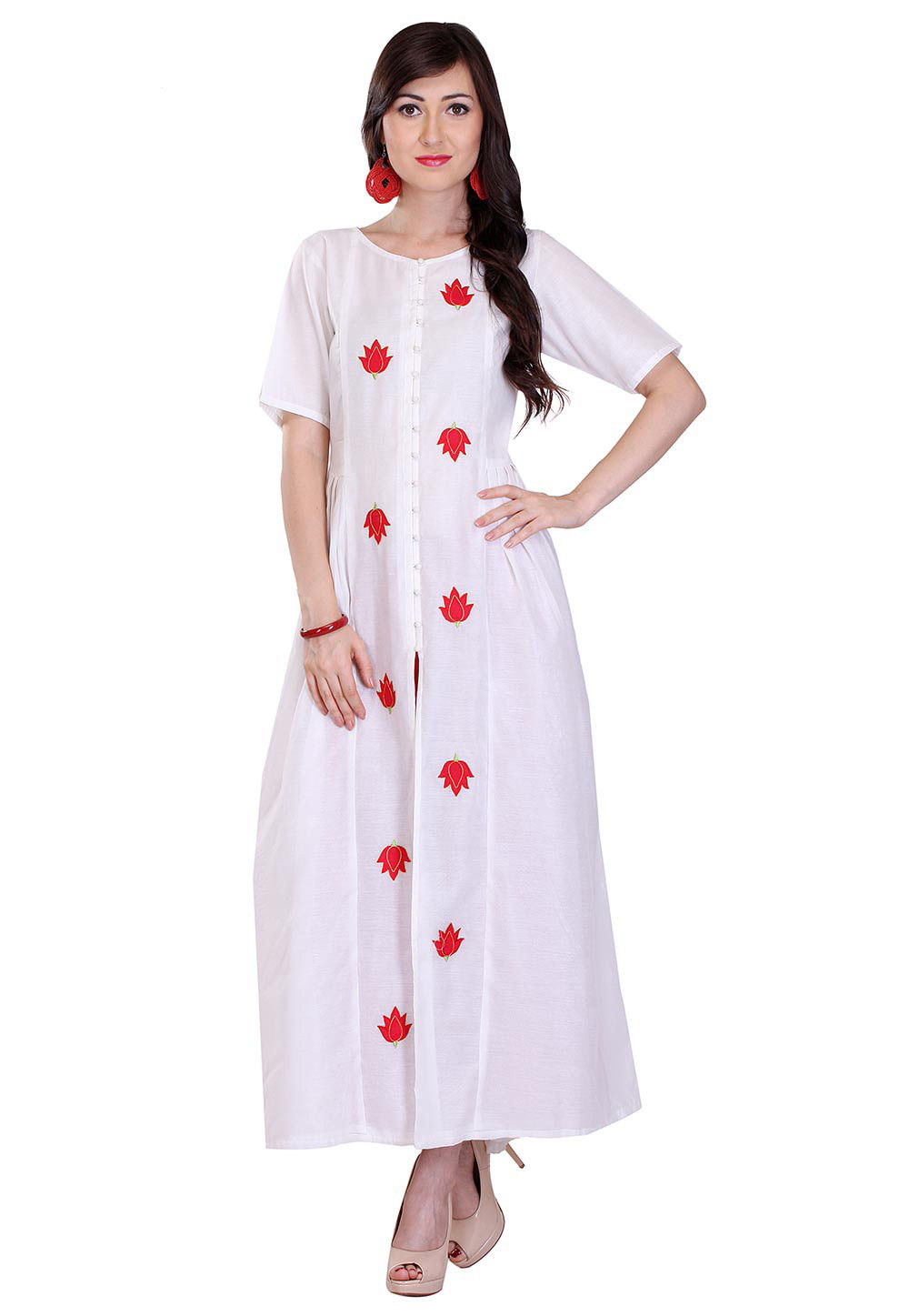Embroidered Chanderi Silk Long Kurta in White