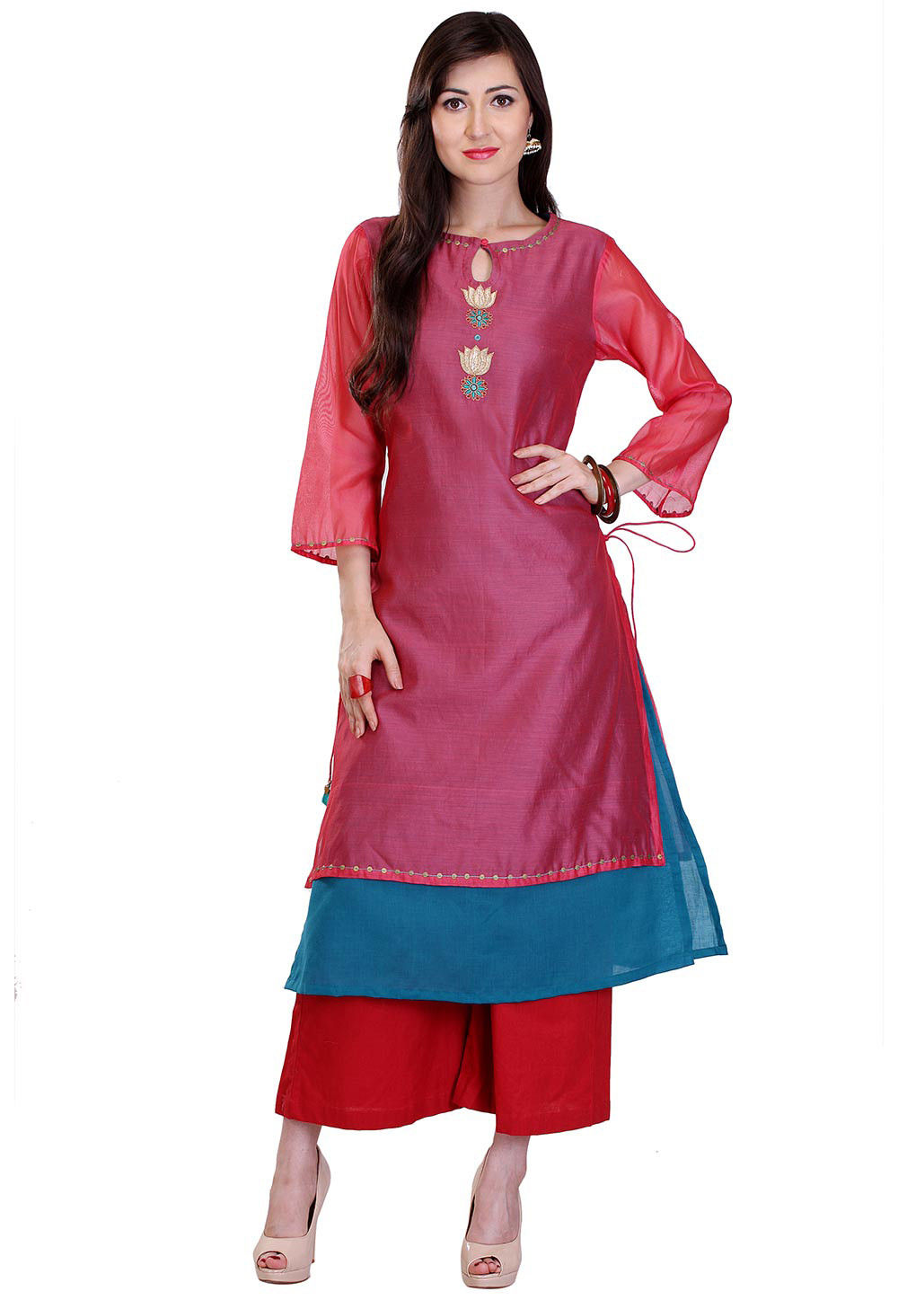 Plain Chanderi Silk Layered Kurta in Magenta and Teal Blue
