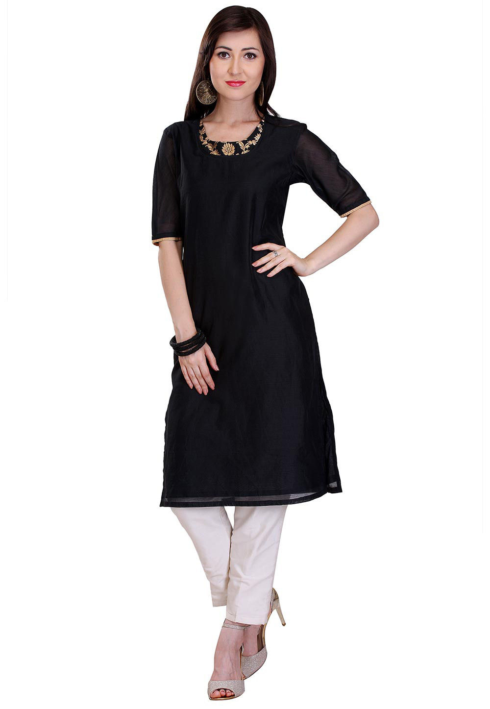 Plain Chanderi Silk Kurta in Black