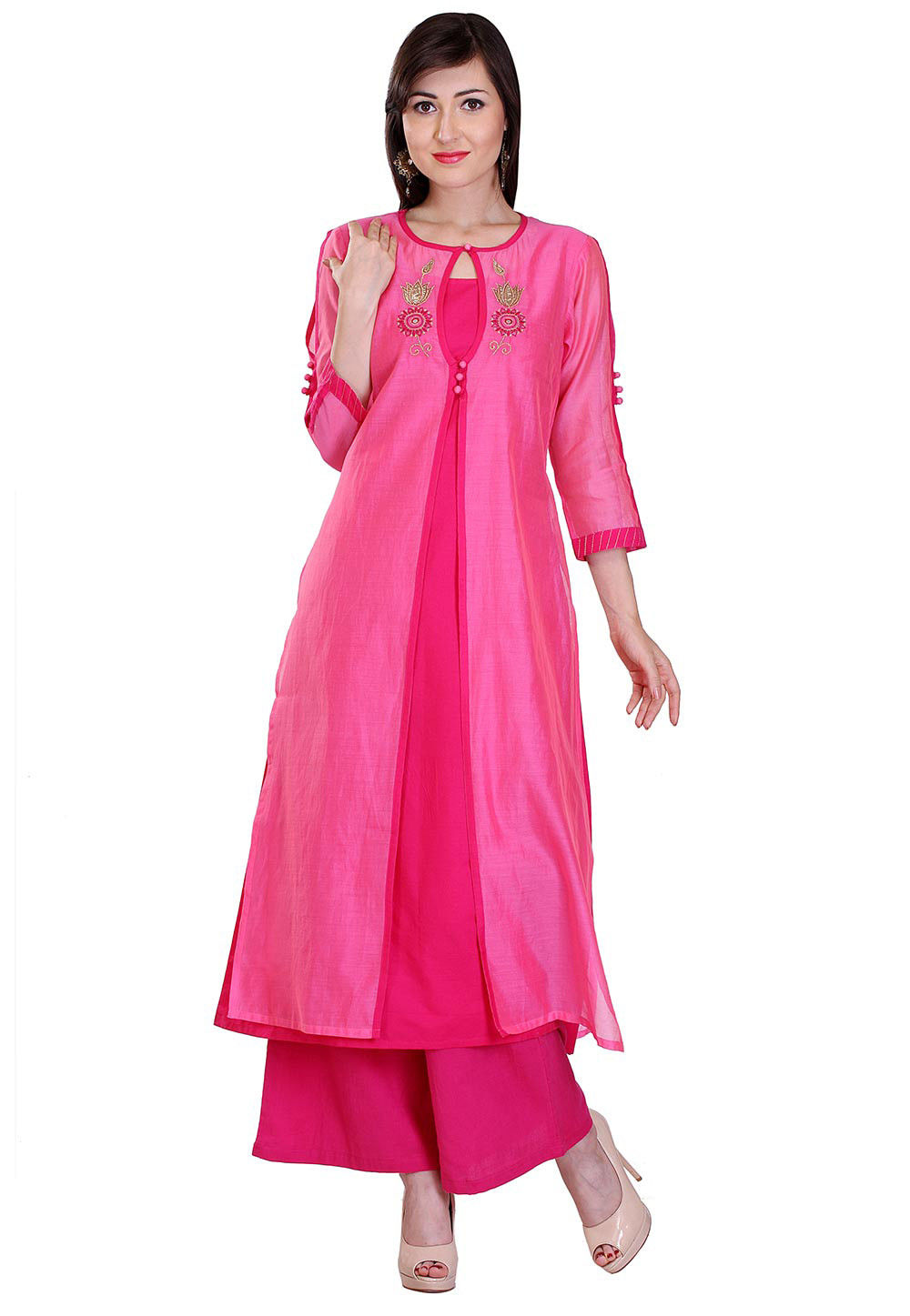 Embroidered Chanderi Silk Jacket Style Long Kurta in Fuchsia