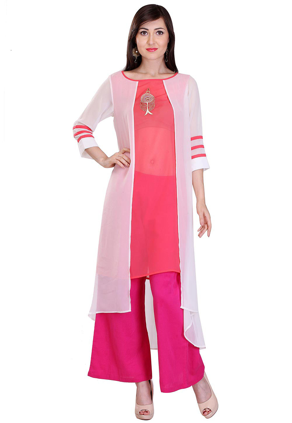 Embroidered Georgette High Low Tunic in White and Pink