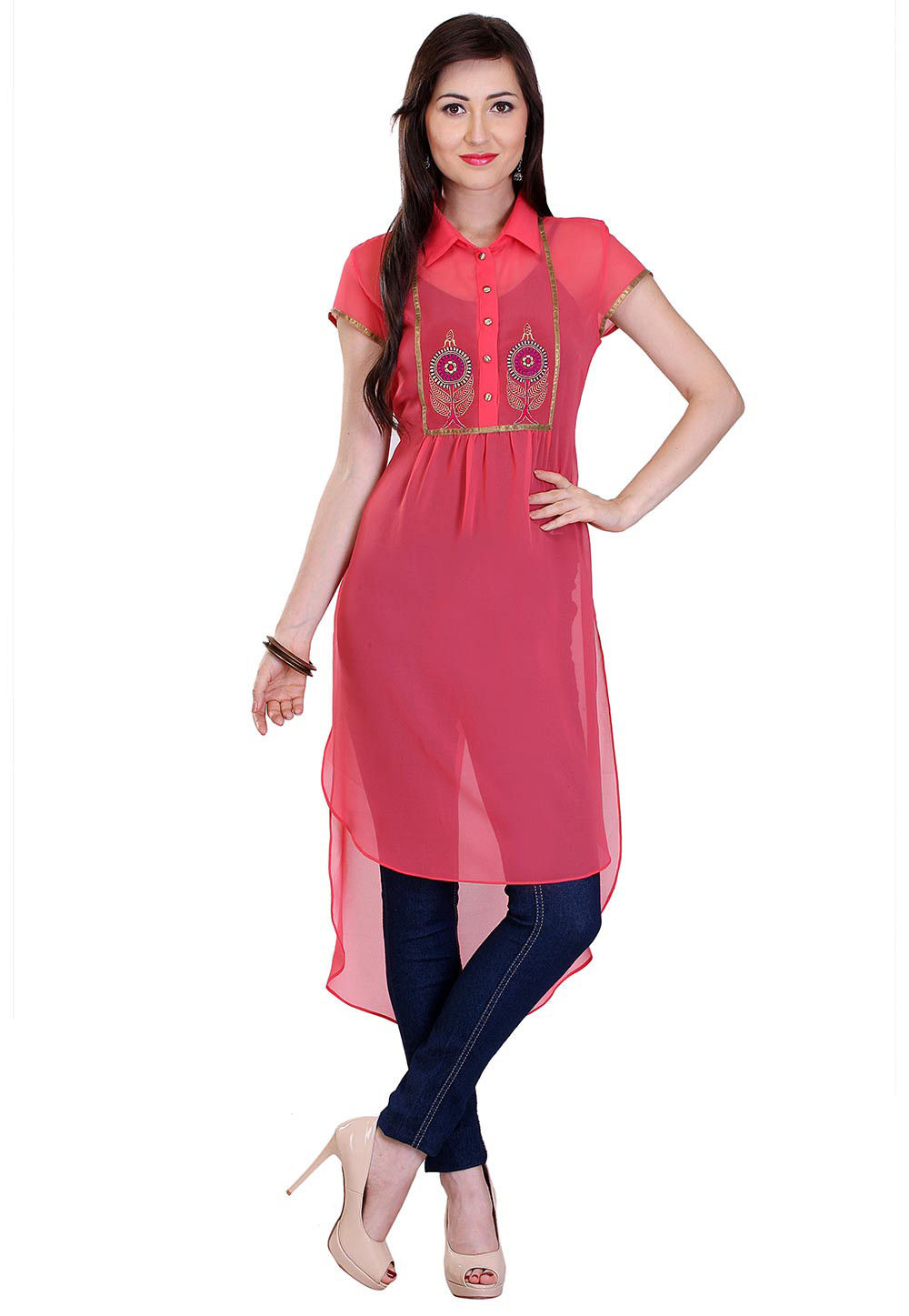 Embroidered Georgette High Low Tunic in Pink