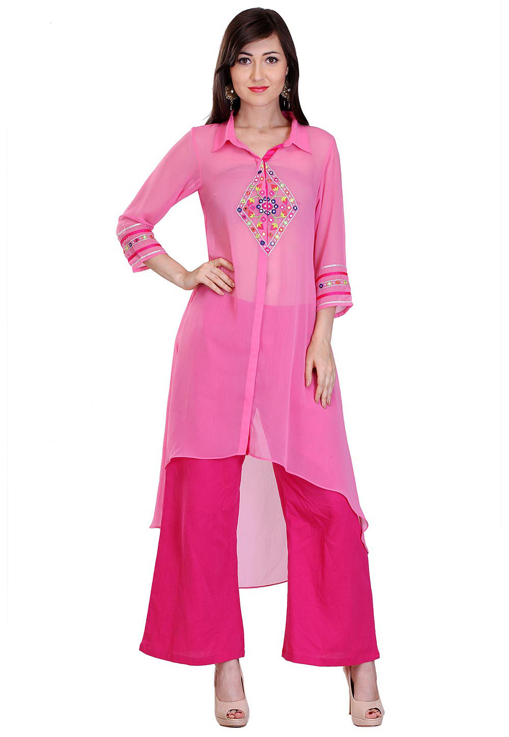 Embroidered Georgette Asymmetric Kurta in Pink