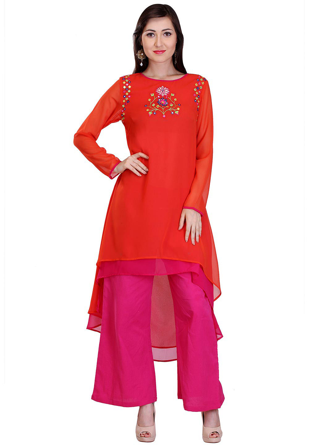 Embroidered Georgette Asymmetric Kurta in Red and Fuchsia