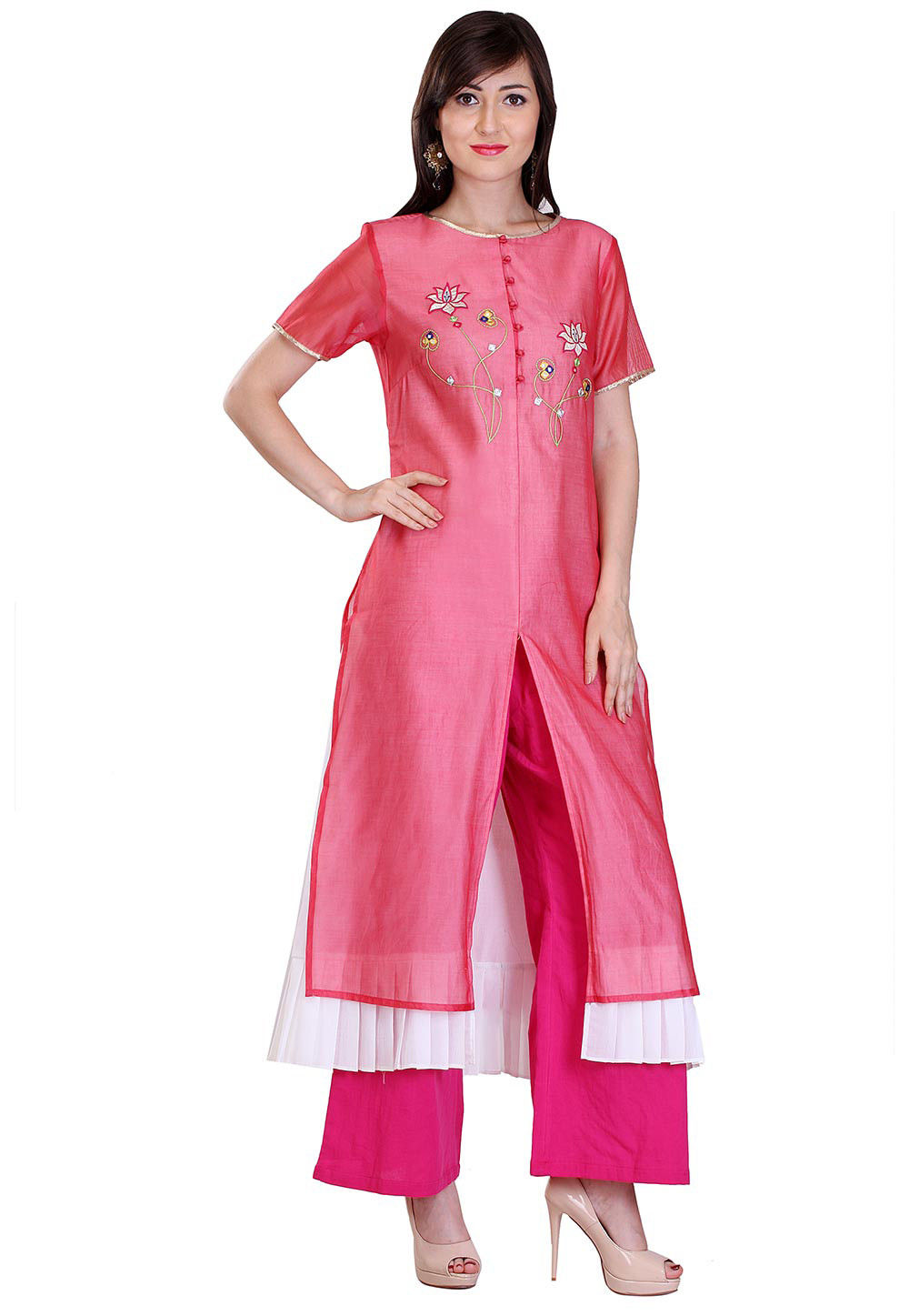 Embroidered Chanderi Silk Long Kurta in Pink and Off White