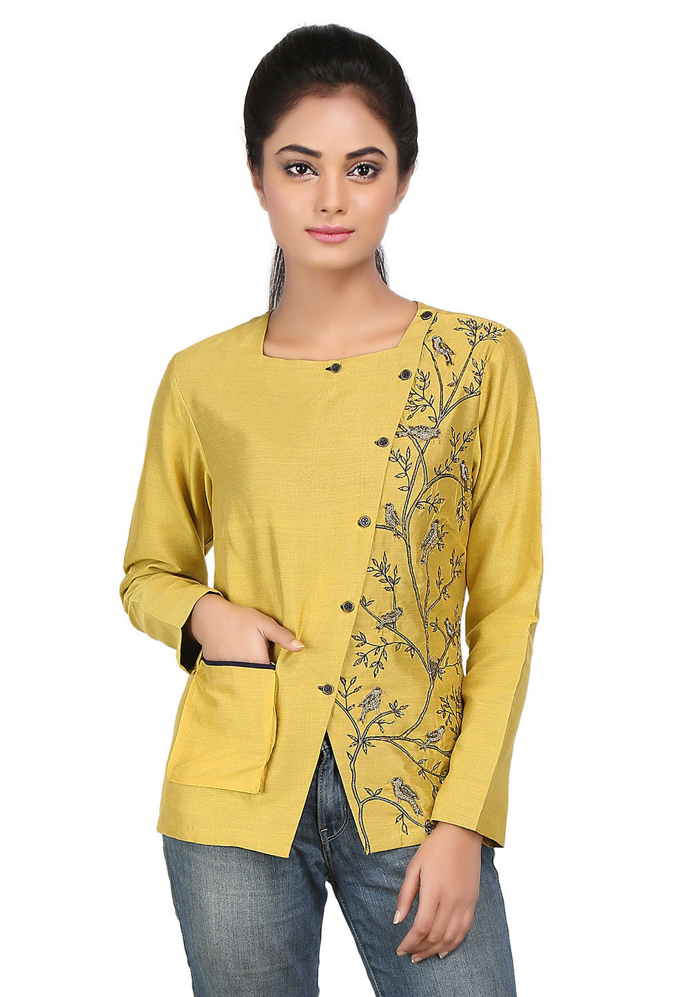 Embroidered Cotton Silk Jacket in Mustard