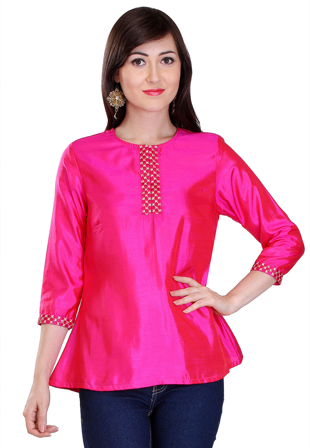 Plain Silk Top in Fuchsia