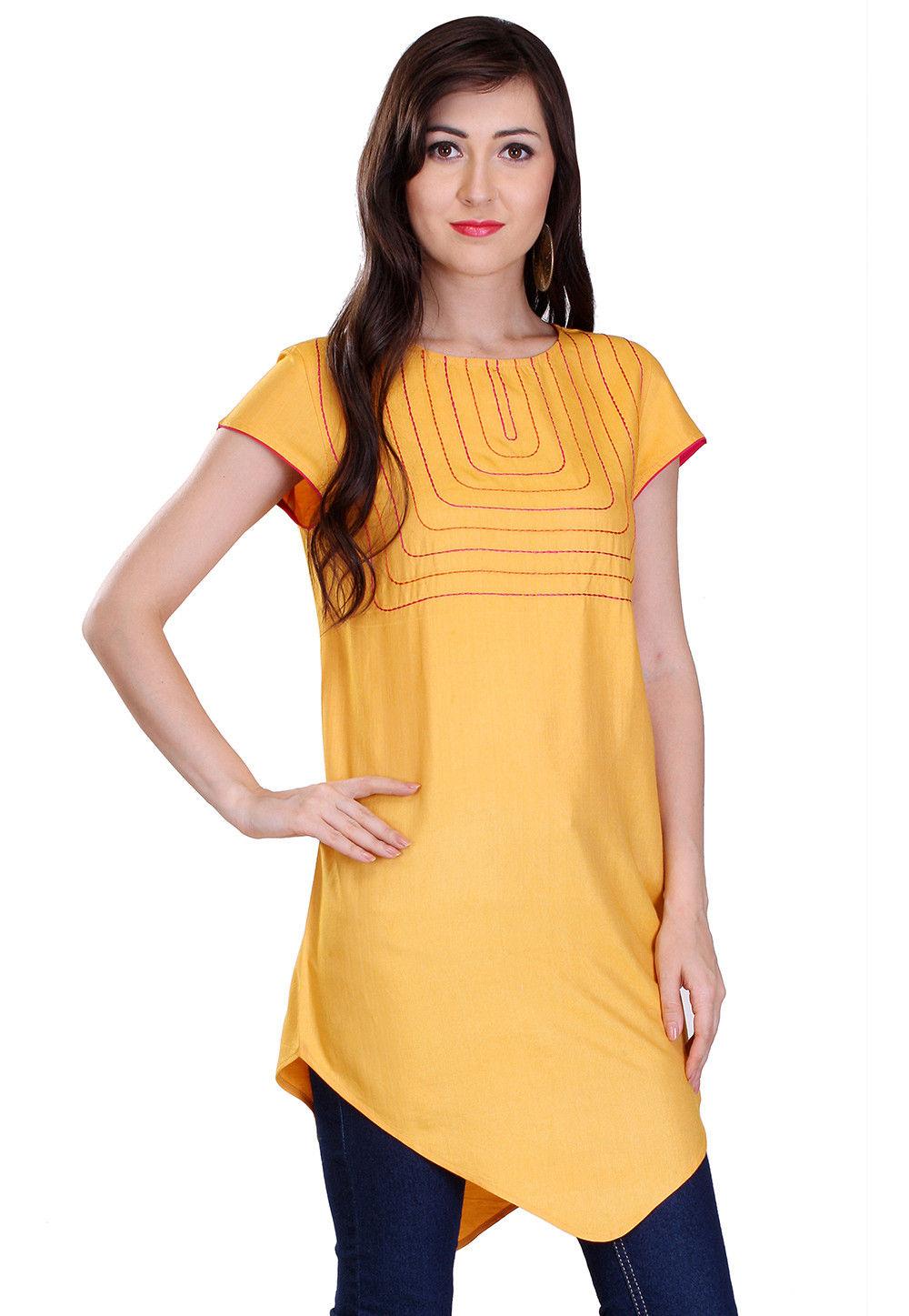 Plain Cotton Asymmetric Tunic in Yellow