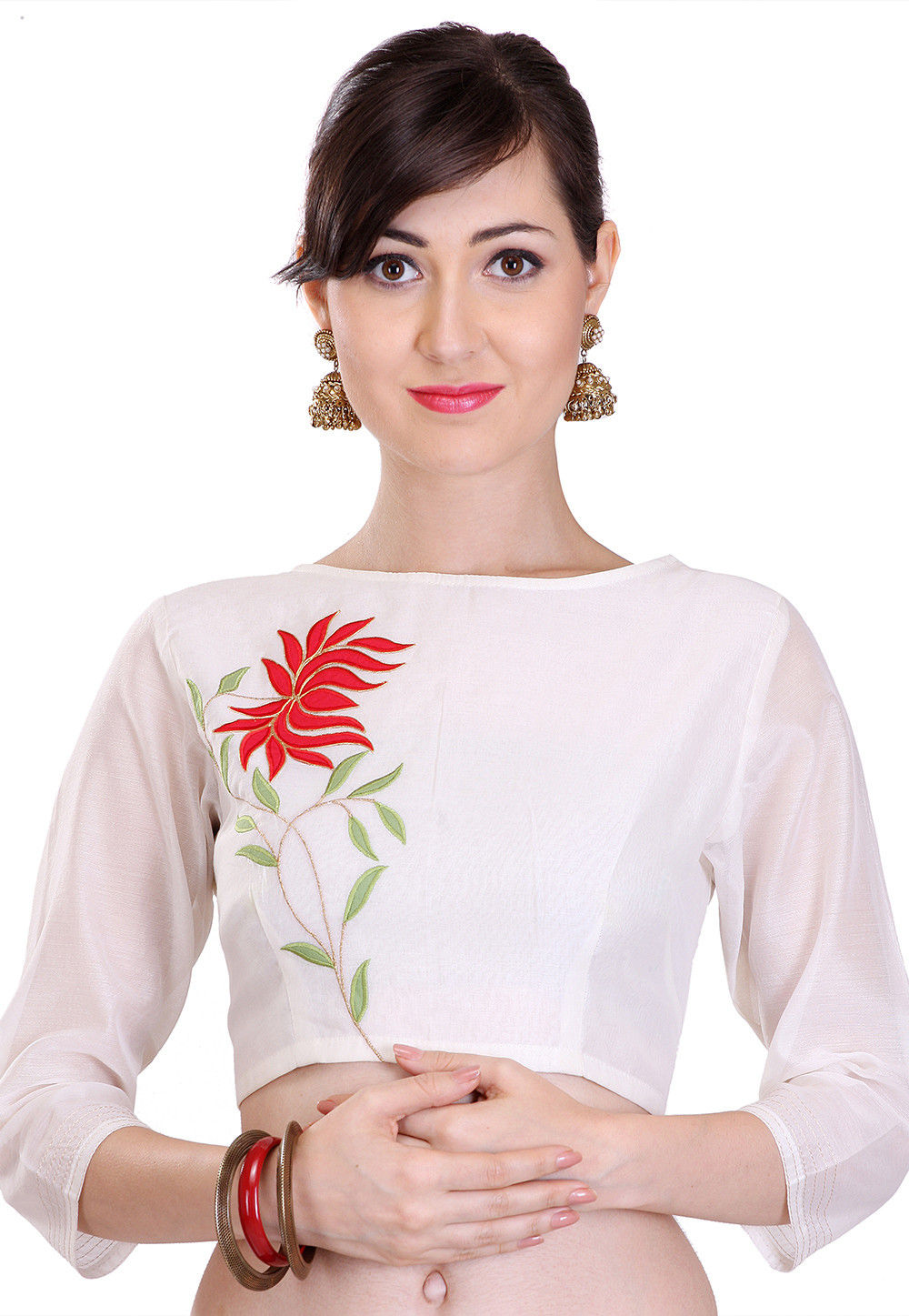 Embroidered Art Chanderi Silk Blouse in Off White