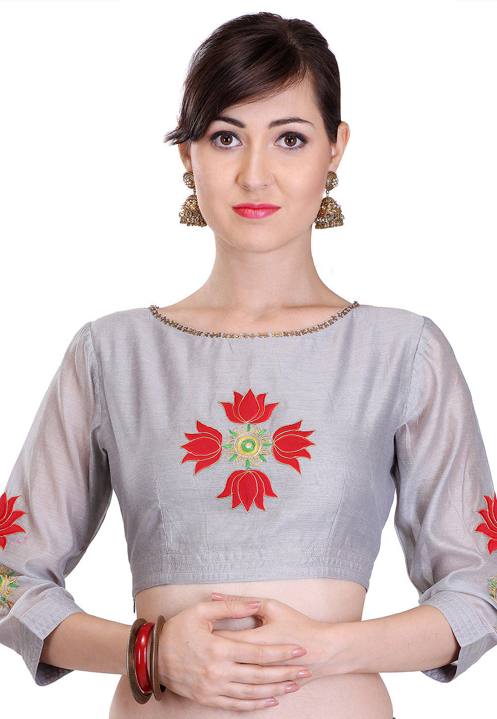 Embroidered Chanderi Silk Blouse in Grey