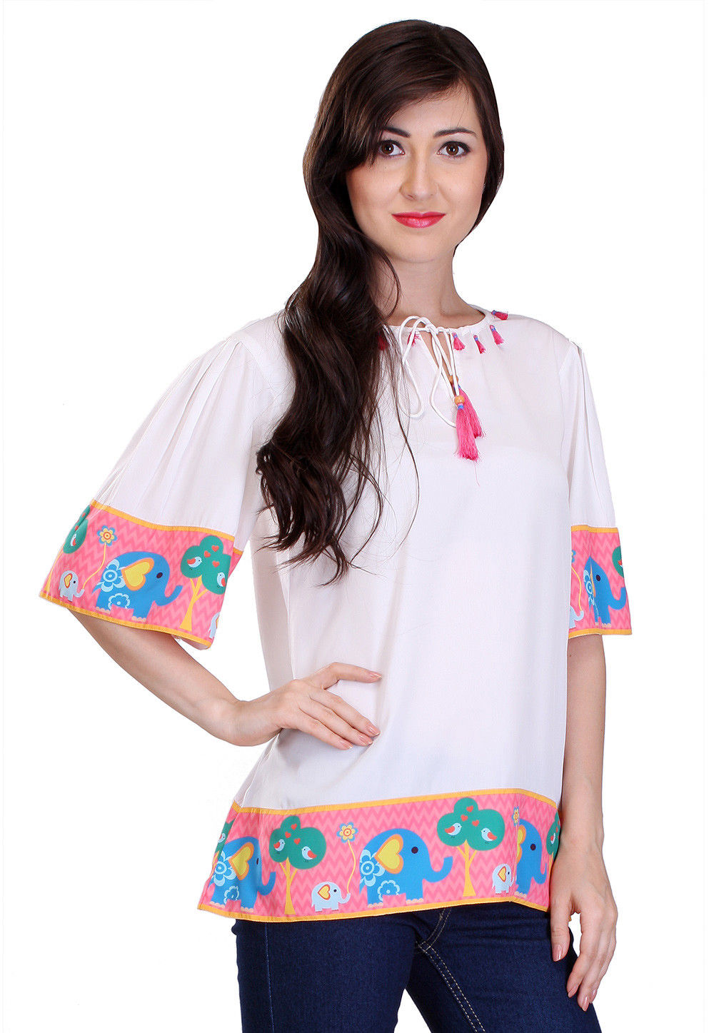 Printed Border Crepe Top in Off White