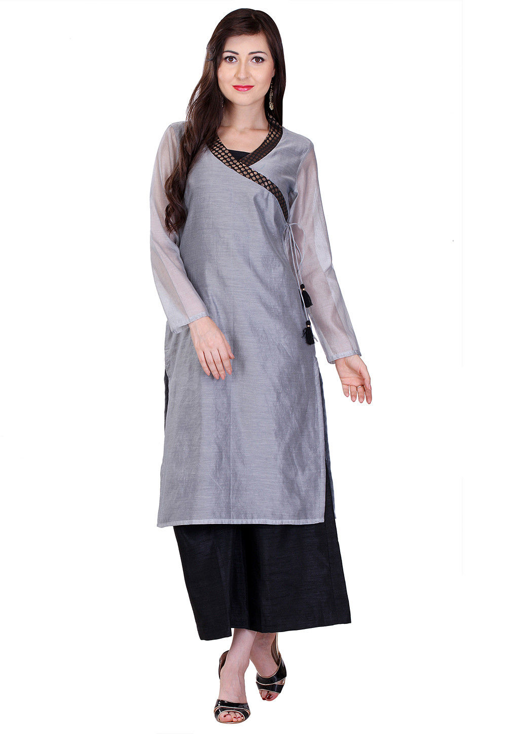 Plain Art Chanderi Silk Long Kurta in Grey
