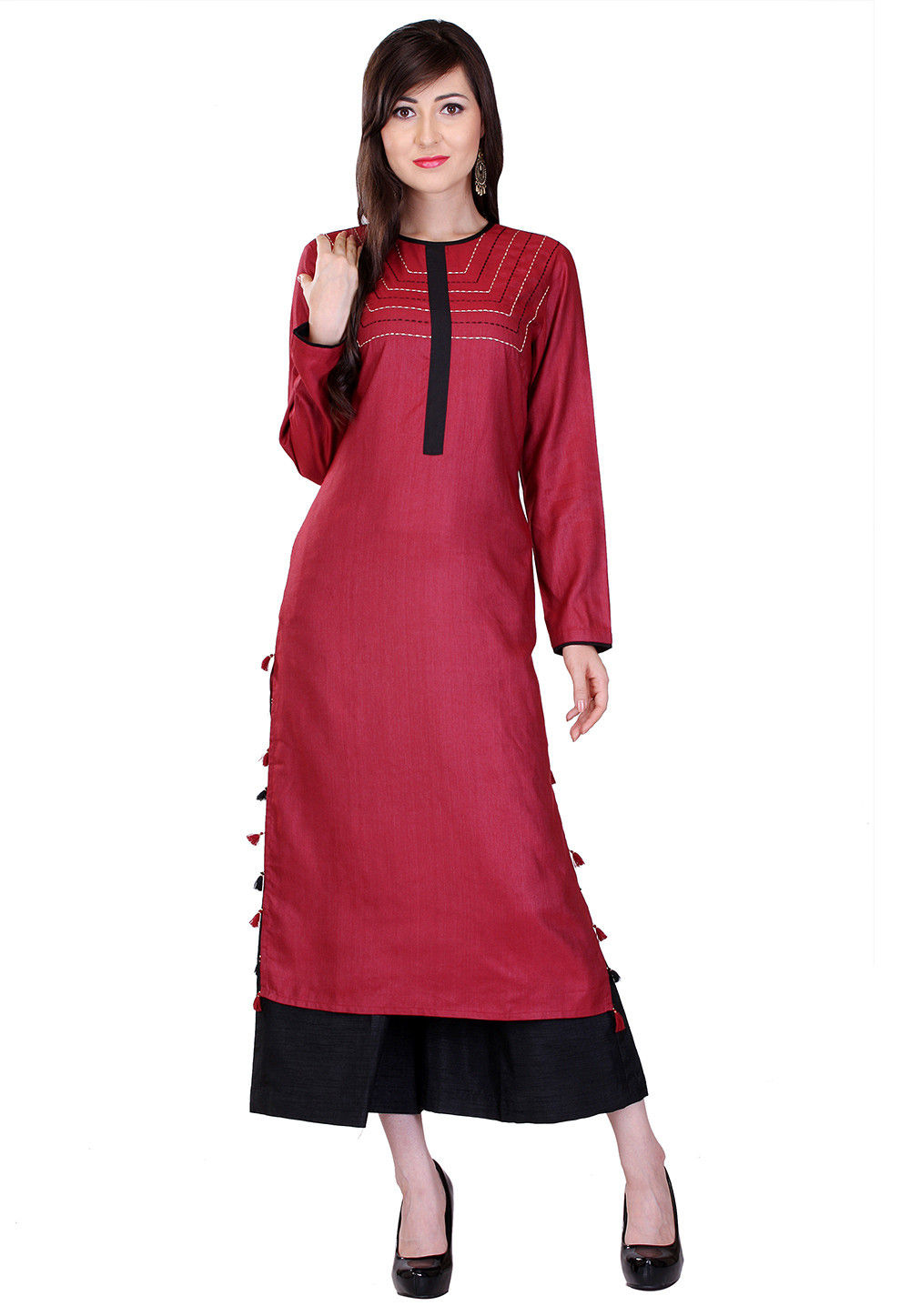 Plain Cotton Silk Long Kurta in Maroon