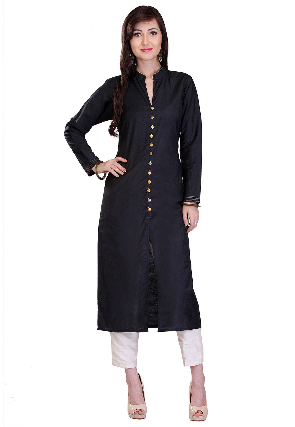 Plain Cotton Silk Jacket Style Long Kurta in Black