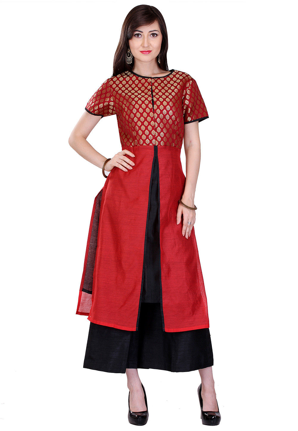 Plain Art Chanderi Silk and Art Brocade Silk Long Kurta in Red