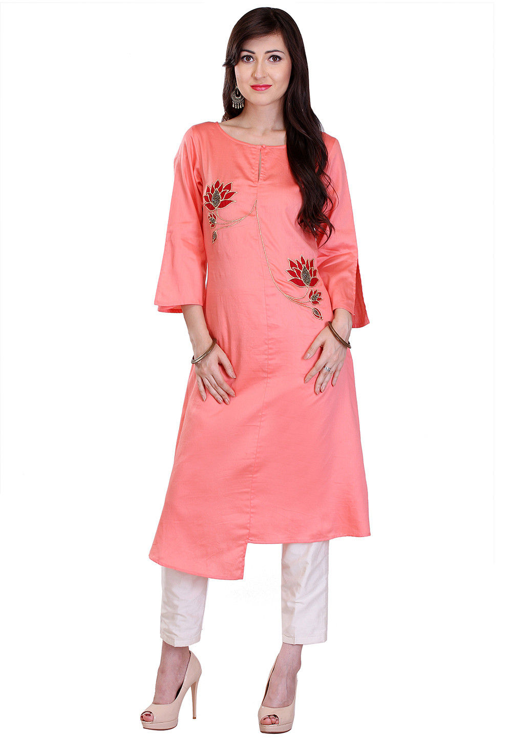 Embroidered Cotton Silk Asymmetric Long Kurta in Peach