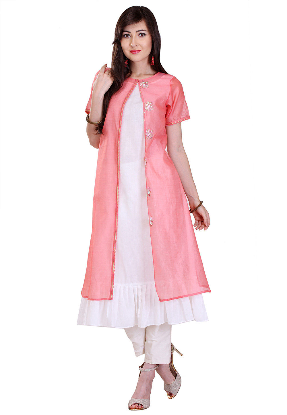 Embroidered Art Chanderi Silk Long Kurta in Peach and White