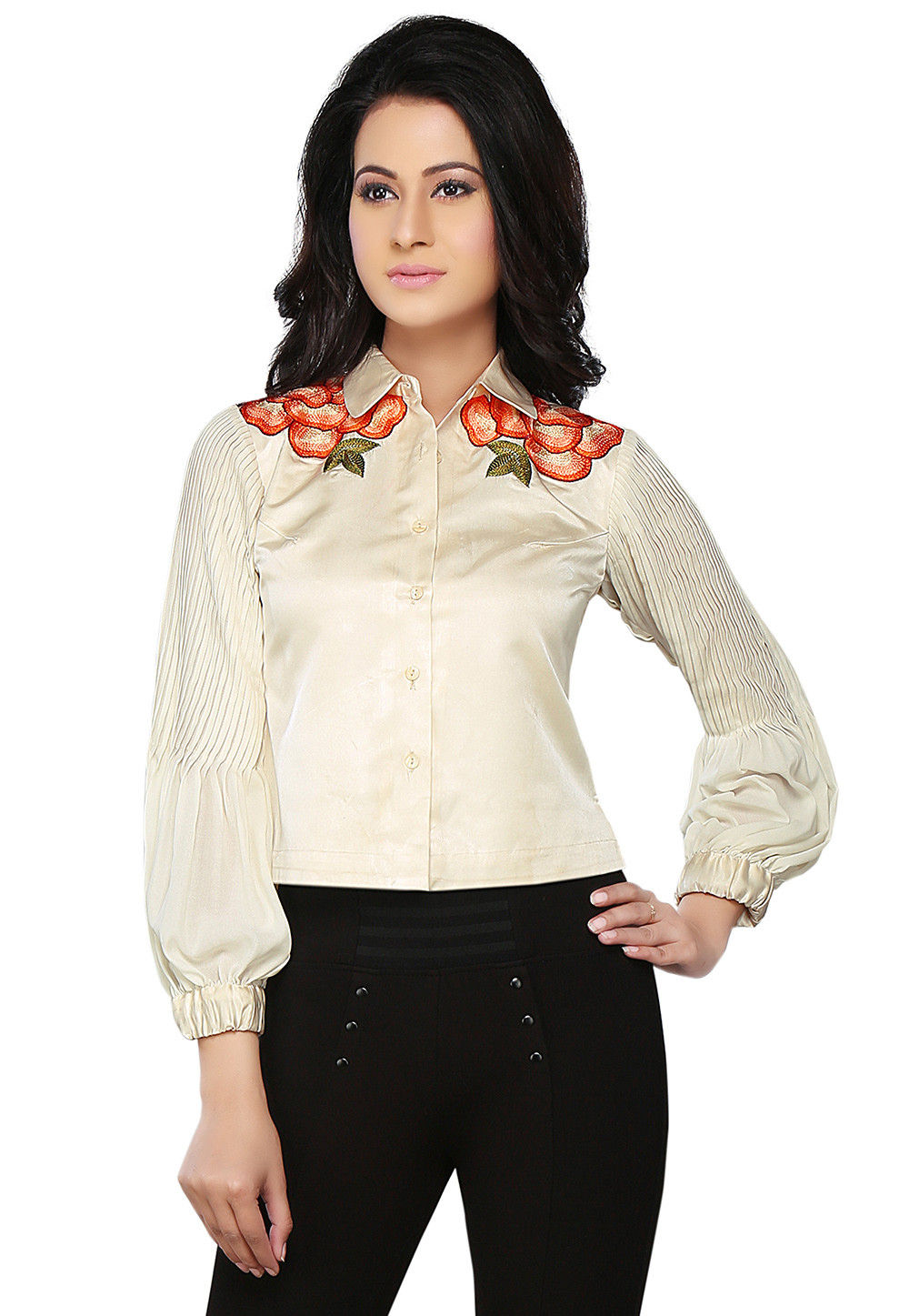 Embroidered Dutch Satin and Faux Georgette Shirt In Off White
