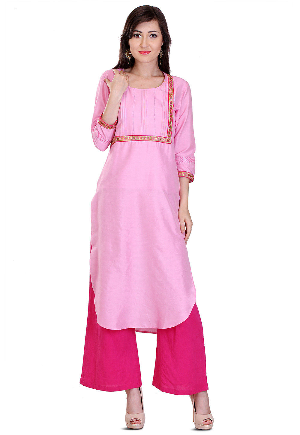 Embroidered Cotton Silk Kurta in Pink