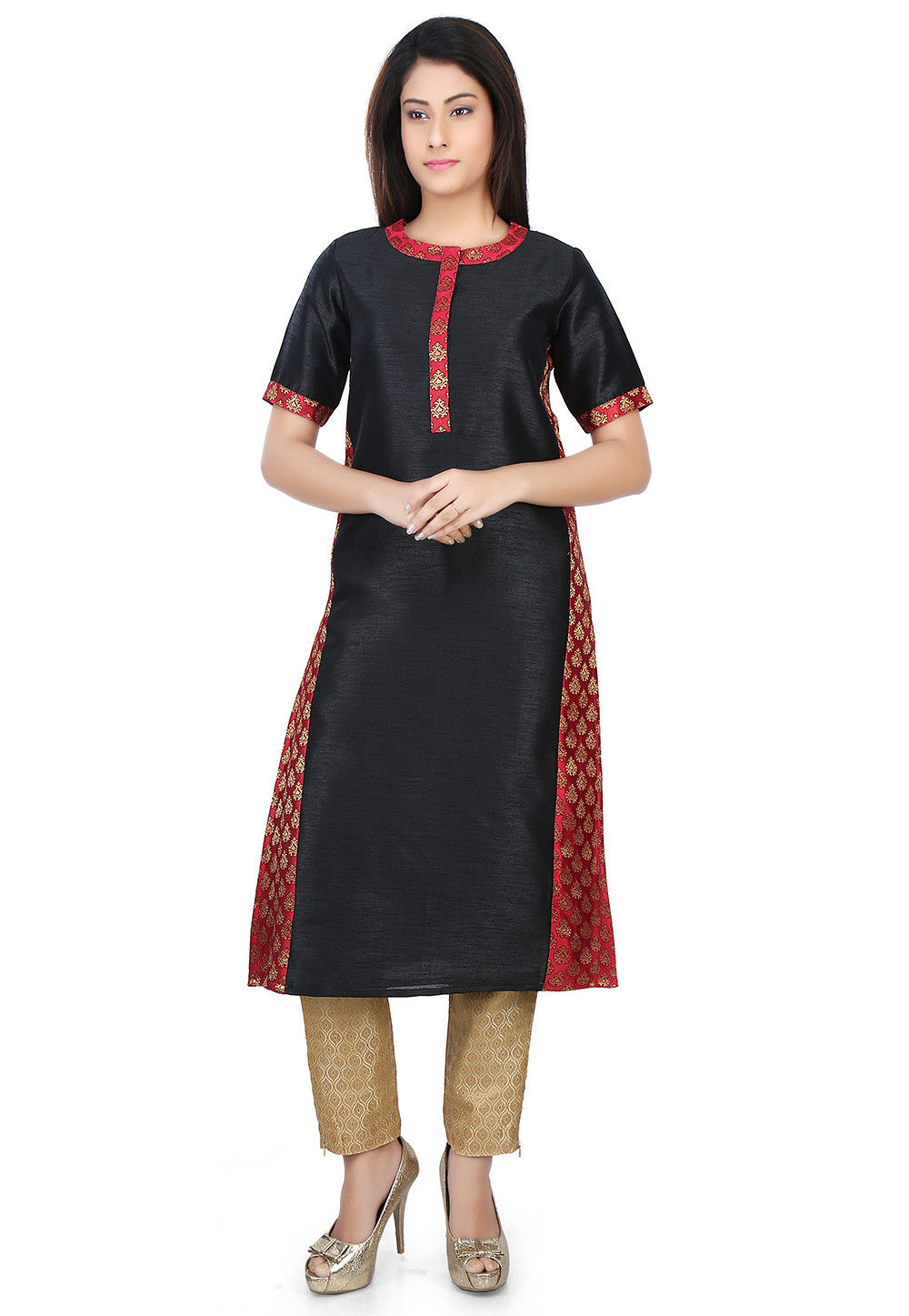 Woven Dupion and Brocade Long Kurta in Black and Red
