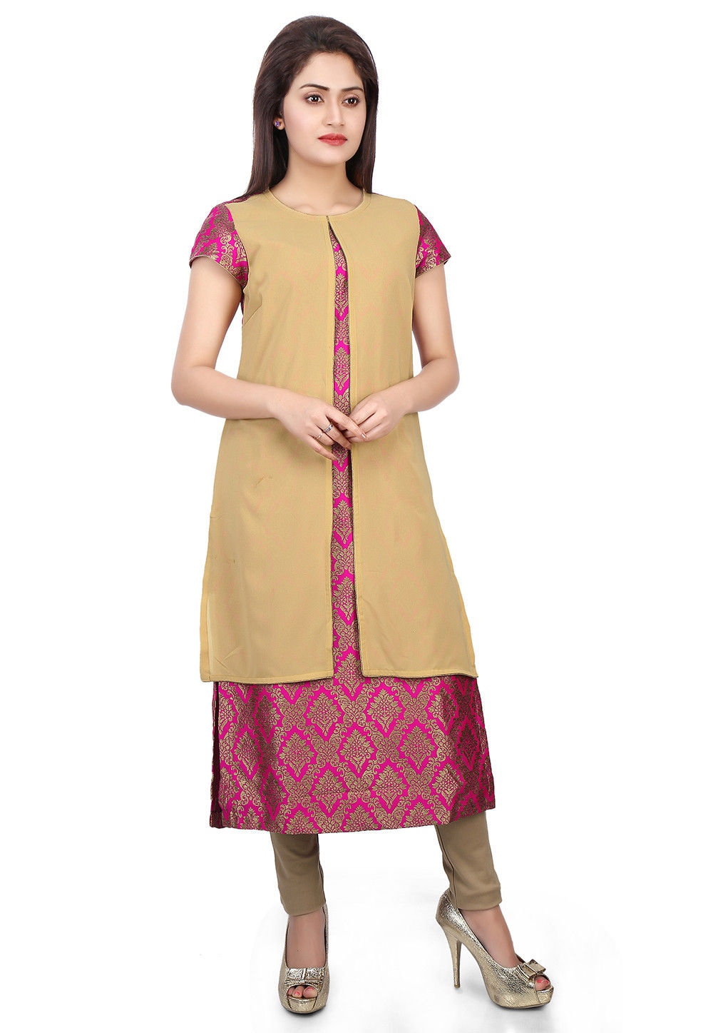 Brocade and Georgette Jacket Style Long Kurta in Beige and Fuchsia