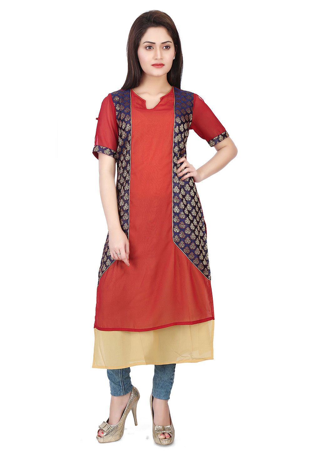Woven Georgette and Brocade Jacket Style Long Kurta in Red and Blue