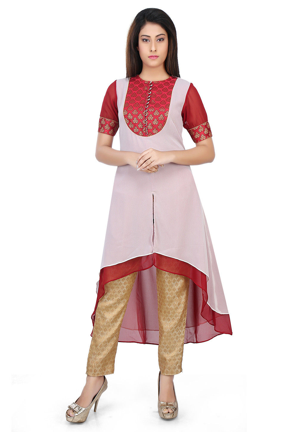 Woven Georgette and Brocade Asymmetric Tunic in Off White and Red