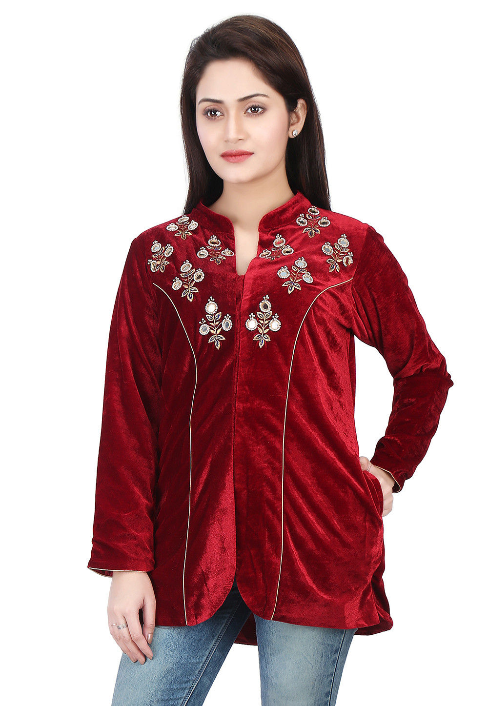 Embroidered Velvet Jacket in Maroon