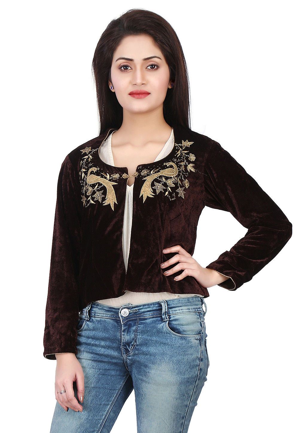 Embroidered Velvet Jacket in Brown