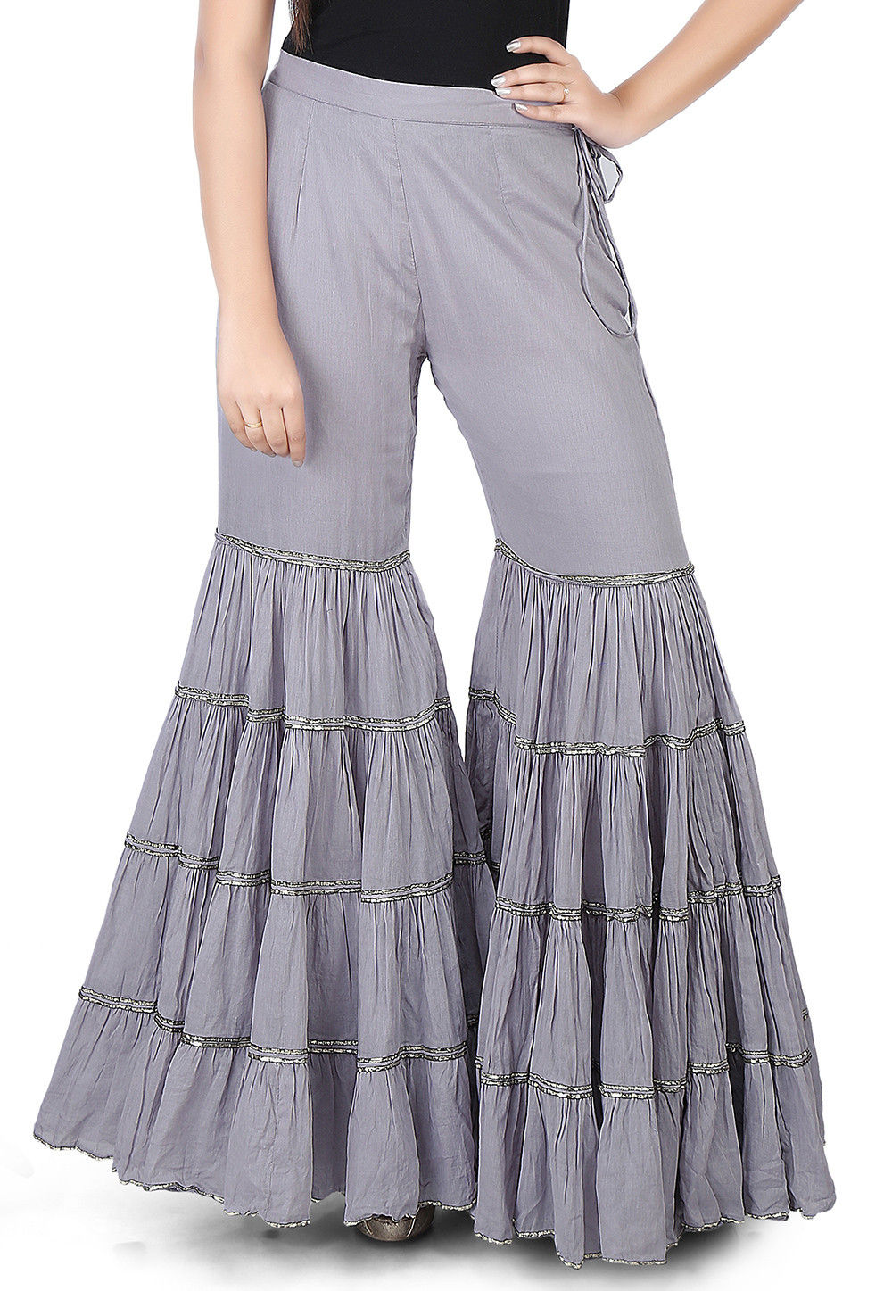 Plain Cotton Mulmul Sharara Style Pant in Grey