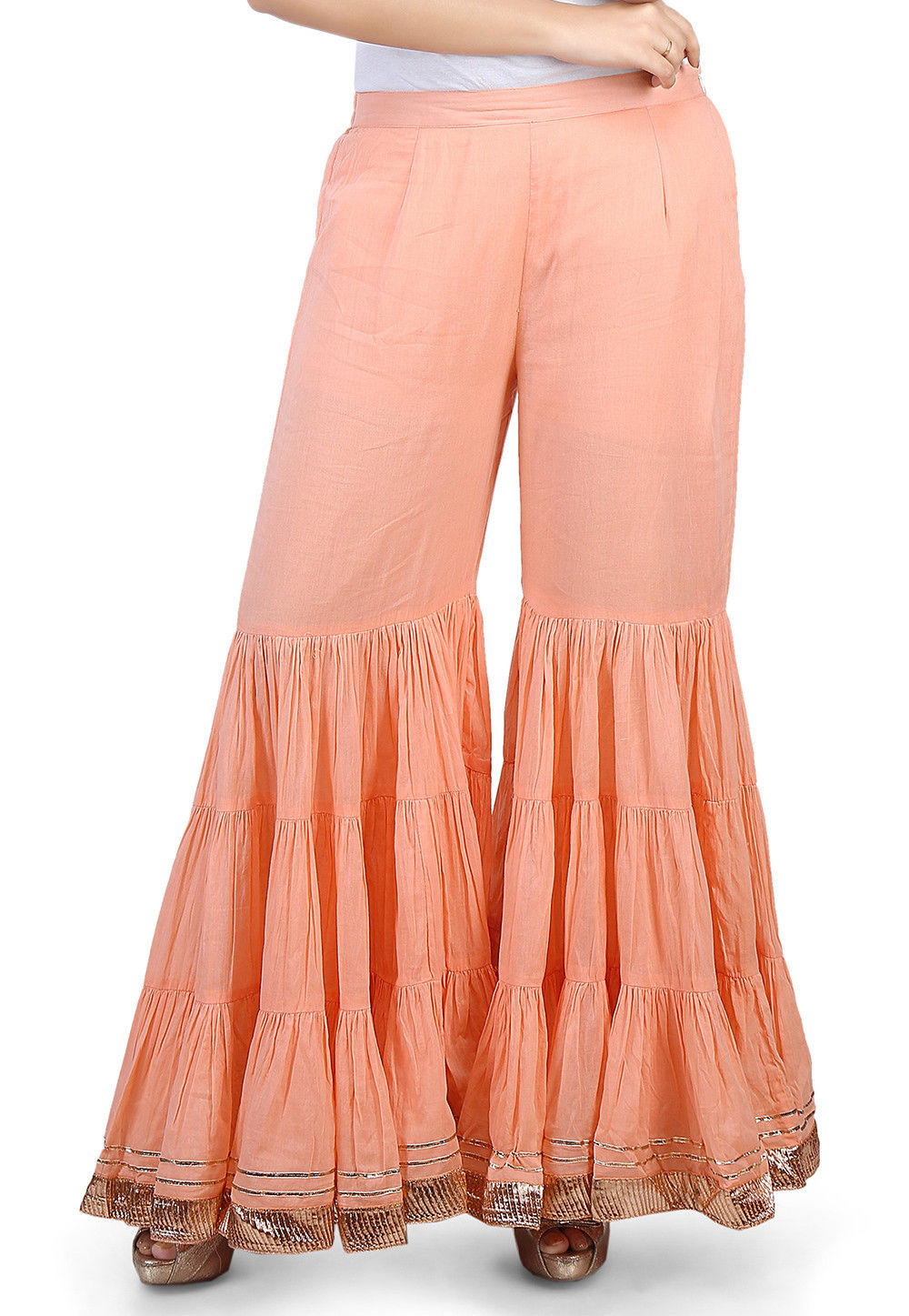 Plain Cotton Mulmul Sharara Style Pant in Peach