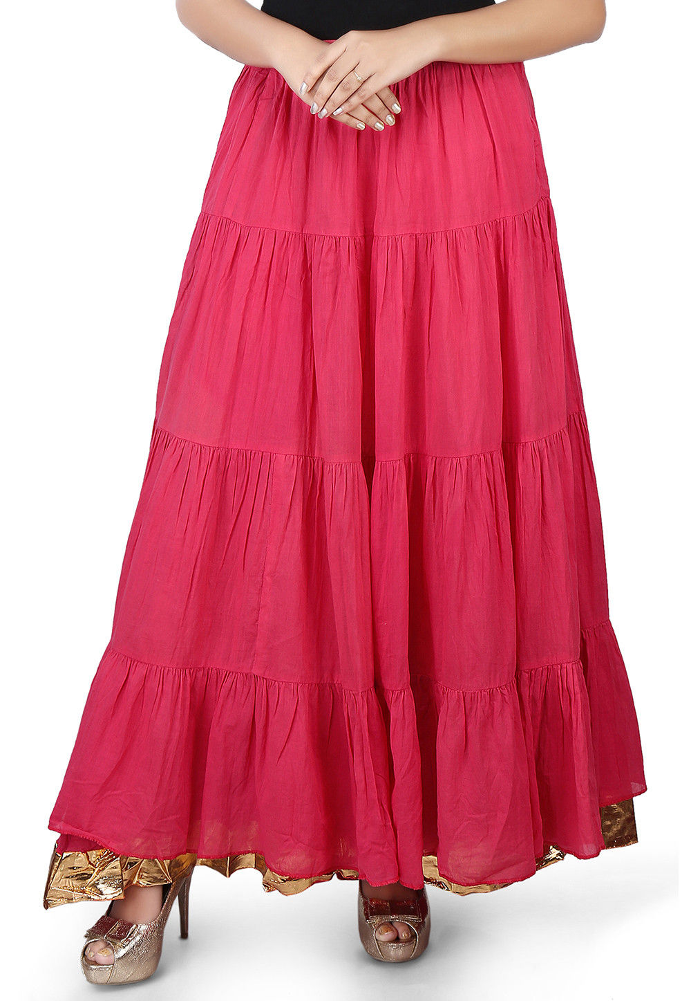 Plain Cotton Mulmul Long Skirt in Fuchsia