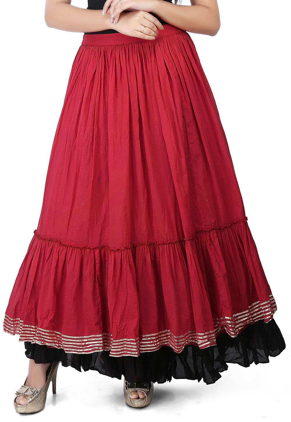 Plain Cotton Mulmul Long Skirt in Maroon